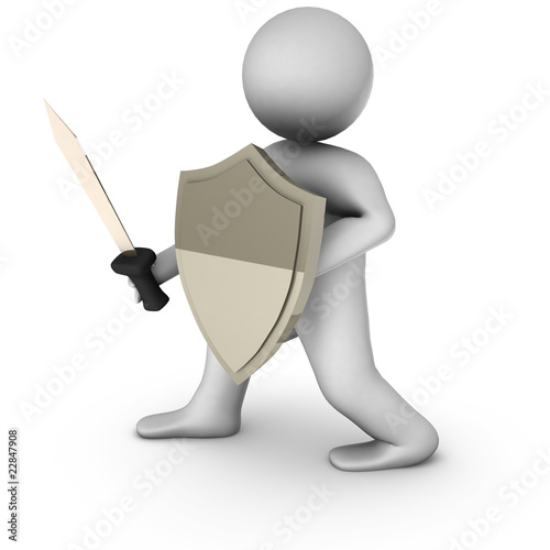 3d knight with sword on white background