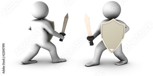 3d knights with sword on white background