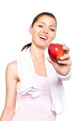 Sportliche Frau mit Apfel