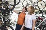 Mature couple choose a new bike