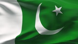 Creased Pakistan satin flag in wind with seams and wrinkle poster
