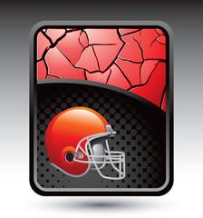 football helmet red cracked background