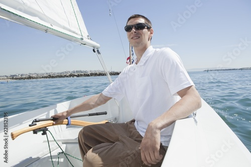 Young man sailing