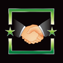 business handshake green star frame