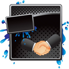 business handshake black halftone splattered ad