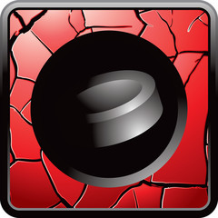 hockey puck red cracked web button