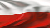 Creased Polish satin flag in wind with seams and wrinkle poster