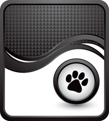 paw print black checkered wave