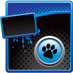 paw print blue and black halftone banner