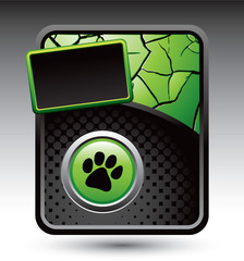 paw print green cracked advertisement