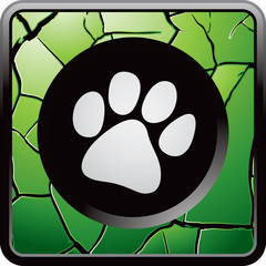 paw print green cracked web button