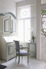 Writing bureau in study with America shutters, London