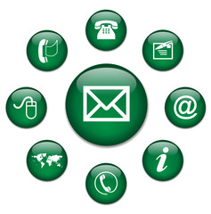 CONTACT web buttons (e-mail business us details online)