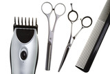 Scissors, scissors tapering, machine for hairstyle poster