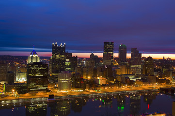 Pittsburgh, Pennsylvania at dawn viewed from Mount Washington