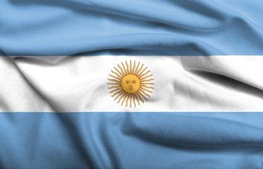 3D Flag of Argentina satin