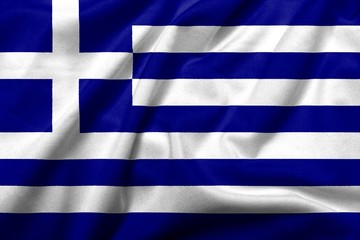 3D Flag of Greece satin