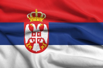 3D Flag of Serbia satin