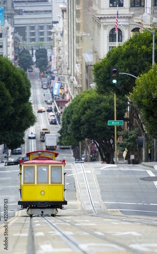 Elevated view of tram on uphill ascent, San Francisco
