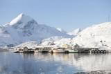 Coastal landscape and fishing village Sund in Flakstadoya, Loftofen, Norway