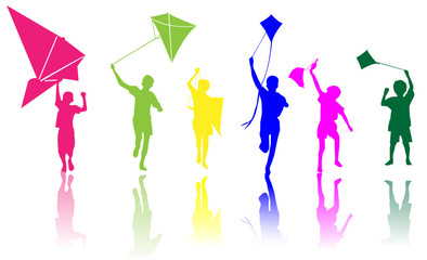 Colored children with kite vector