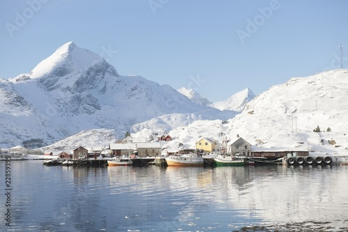 Coastal landscape and fishing village Sund in Flakstadoya, Loftofen, Norway