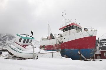 Fishing boats in Sund, Flakstadoya, Loftofen, Norway