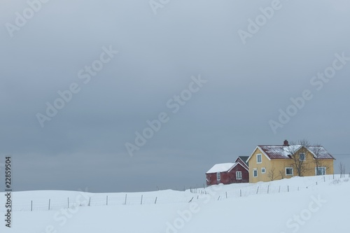 Remote house in coastal landscape, Flakstad, Flakstadoya,  Loftofen, Norway