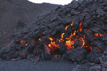 Glowing molten volcanic rock of Eyjafjallajokull, Fimmvorduhals, Iceland