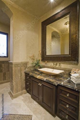 Dark brown bathroom unit with leather mirror frame