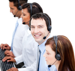 Portrait of smiling businessteam with an headset