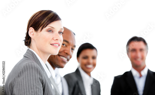 Portrait of smiling businesspeople listenning a presentation