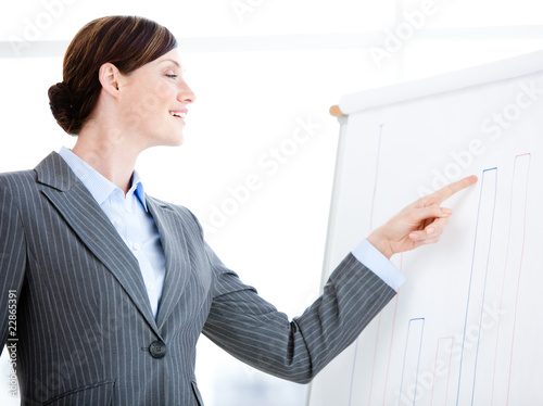 Portrait of a laughing businesswoman talking about a graph durin