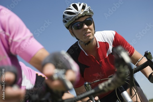 determined mid adult cyclist