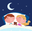 roleta: Siblings - boy and girl sleeping and dreaming in bed