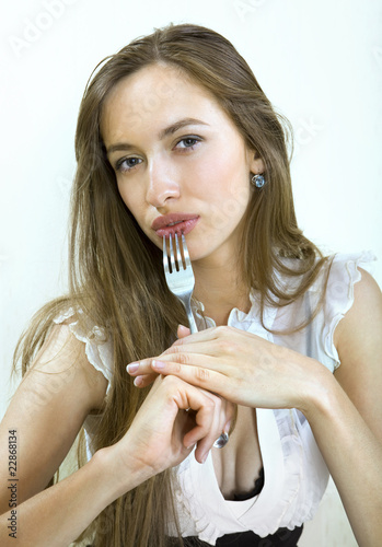 Portrait of girl with fork