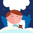 roleta: Small boy with his teddy bear sleeping in bed. VECTOR