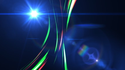abstract moving lines with lens flare and particles