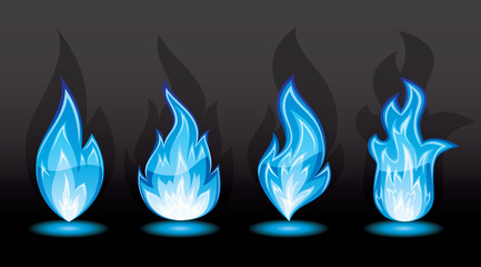 Set of blue flame