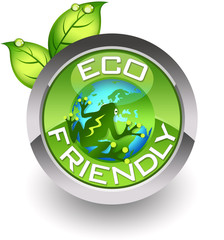 ''Eco-friendly'' glossy icon with a frog