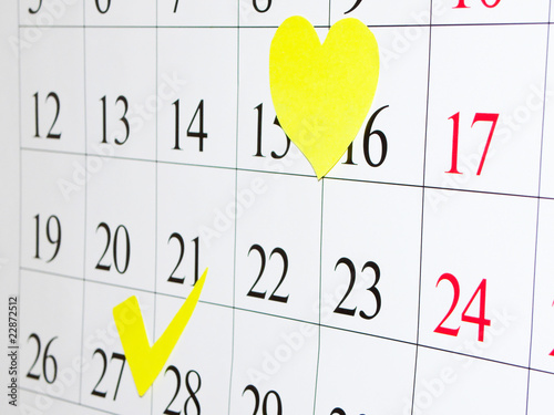 Dates noted by yellow on a calendar