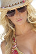 Sexy Blond Girl In Aviator Sunglasses & Straw Cowboy Hat