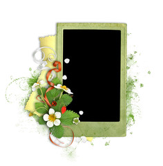 green paper frame with strawberries