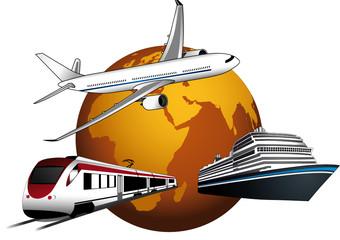 Globo terrestre con aereo, nave e treno