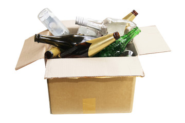 Empty Bottles in Cardboard Box