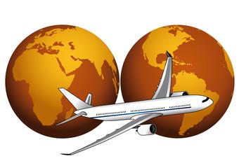 Mondo con due visuali e aereo