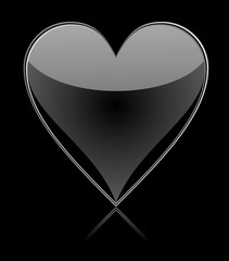 Black glass heart