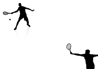 Sport illustration with tennis players and space for your text