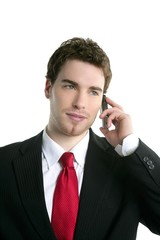 young handsome businessman suit talking phone