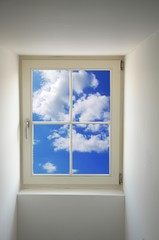 window and blue sky